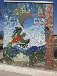 image of quetzal mosaic by artist Cynthia Fisher